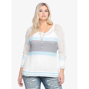 Torrid Striped Open Knit Sweater